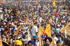 BJP Prime Miniterial Candidate Narendra Modi, Party President Rajnath Singh, Punjab chief minister Parkash Singh Badal and Deputy chief minister of Punjab Sukhbir Singh Badal during a joint rally of SAD in Jagraon, Punjab.