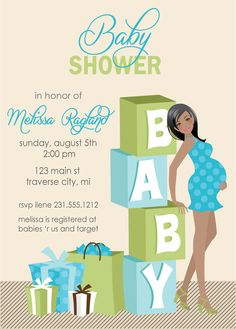 Blocks - Boy Baby Shower Invitations African American