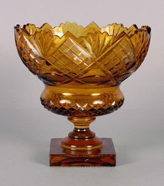 Georgian Style Cut Amber Glass Compote  Height 9 inches.