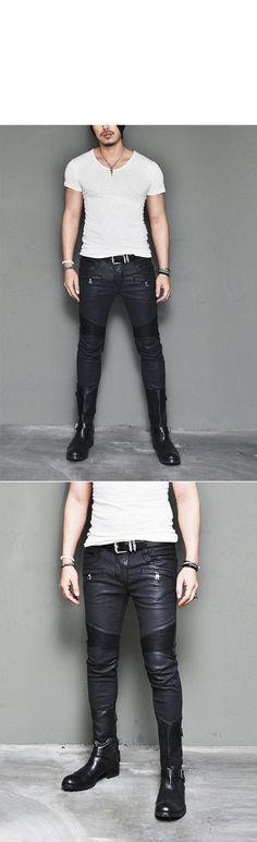 Best Ever Wax Coated Leather Seaming Skinny Biker-Pants 109 - GUYLOOK