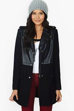 Assumed Identity Faux Leather Coat