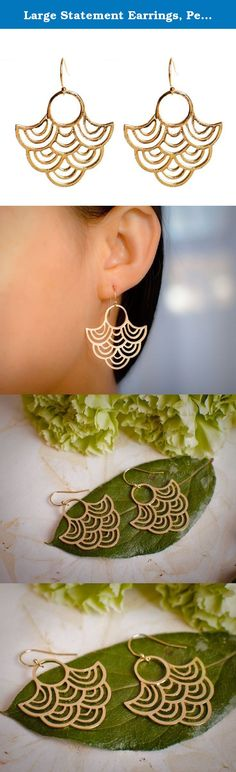 """Large Statement Earrings, Peacock Earrings, Big Light Fan Earrings on Gold Filled Ear Wires. Dazzle with these show stopper of earrings. Light as a feather, catch the light beautifully. Add to any outfit and DONE! Get the silvertone version here: http://www.amazon.com/gp/product/B00IXN0GJG Dimensions: 2"""" x 1 1/4"""" Materials: Earwire: 14k Gold Filled Fan Design - Alloy."""