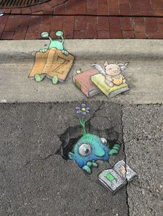 Chalk art by street artist David Zinn