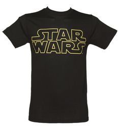 Mens Black Star Wars Logo T Shirt