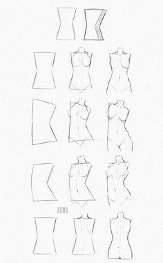 Body Tutorial, Body Drawing Tutorial, Sketches Tutorial, Drawing Tutorials, Drawing Techniques, Art Tutorials, Illustrator Tutorials, Drawing Female Body, Female Torso