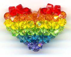 Rainbow Beaded Heart