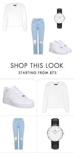 """35"" by subrox ❤ liked on Polyvore featuring NIKE, Calvin Klein Collection, Topshop, Daniel Wellington, minimal, nike and airforce"