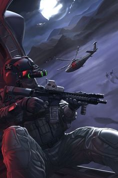 Book cover for Capstone Publishing: Shadow Squadron - White Needle Operators going in via Stealth-Hawks on a DA mission. Had a fair bit of fun doing this piece with the different style of rendering from the more usual painterly styles. Anime Military, Military Police, Military Art, Desenho New School, Guerra Anime, Military Drawings, Military Special Forces, Future Soldier, Army Wallpaper