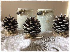 Świeczniki ze słoiczków Word Art, Napkin Rings, Napkins, Christmas Decorations, Diy, Handmade, Home Decor, Noel, Hand Made