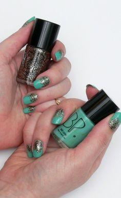 Glitter ombre nails