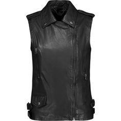 Muubaa Carina leather biker vest ($262) ❤ liked on Polyvore featuring outerwear, vests, black, muubaa, biker vests, genuine leather vest, leather waistcoat and leather biker vest