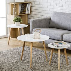 Homury Nesting table set of 3 Coffee tables side tables with Smooth surface, beautiful appearance, durable performance and environmental protection for Living Room Modern Home Furniture Table Sizes: Small:15.7(L)x15.7(W)x15.7(H) Medium:... more details available at https://furniture.bestselleroutlets.com/accent-furniture/nesting-tables/product-review-for-homury-nesting-table-round-coffee-table-wood-set-of-3-side-table-end-table-corner-tablewhite/