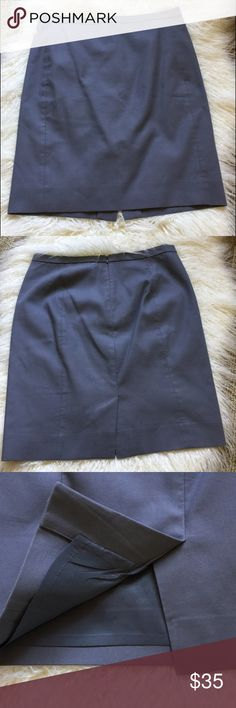 """JCrew cotton gray pencil skirt. Size 6p Cute pencil skirt. 💯 cotton, lined.  Great for work. Nice gray shade.  Size 6P approximate measurements 30"""" waist and 20 length. Zip and hook closure.  Small pricks from tags attached on waist area - see photo. J. Crew Skirts Pencil"""
