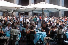 Rome, Italy--Restaurants in front of Pantheon; we ate real pizza here and still talk about it nearly every day!
