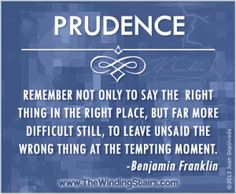 suggest we first look at prudence by exploring various definitions ...