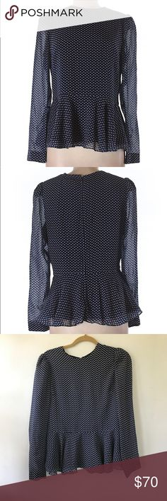 """Whitney Eve long sleeve peplum blouse, size 8 Excellent condition, no visible flaws.  Invisible zipper all the way down the back.  Patterned.  Measures 20"""" across the chest, 26"""" in length.  100% polyester. Whitney Eve Tops Blouses"""