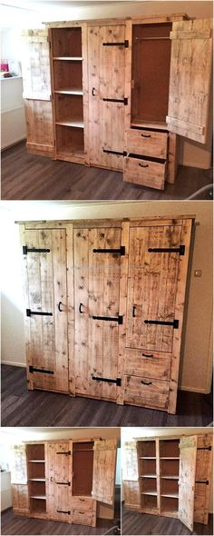 A good closet is one which contains the space for hanging the clothes, placing the products and also storing the small items like the cosmetics. So, we have shown a good upcycled wood pallet made closet project. The pallets are not colored because the pallets appear nice as they are.