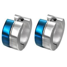 Blue & Silver Unisex Hoop Earrings in Stainless Steel - Timeless Treasures - Free gift bag with purchase