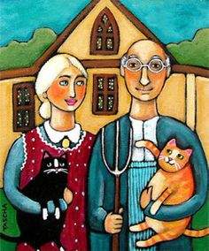 American Gothic: With Cats. ❣Julianne McPeters❣ no pin limits American Gothic Painting, American Gothic House, Grant Wood American Gothic, American Gothic Parody, American Art, Gothic Artwork, Kitsch, Art Grants, Mona Lisa
