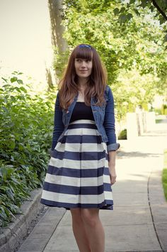 Try a navy stripe skirt for one chic 4th of July