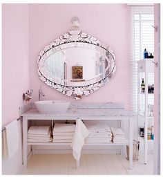 Loving glamorous vintage mirror with pink combo lately.