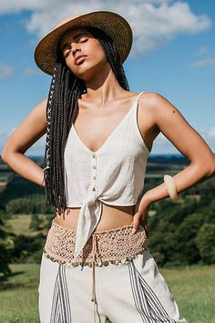 Intimately Free People Two Tie For You Cotton Crop Top, Free People In Dreams Embellished Harem Pants and Peter Grimm Garden Grove Straw Boater Crop Top Designs, Fashion Outfits, Womens Fashion, Fashion Trends, Stylish Outfits, Style Fashion, Fashion Inspiration, Cotton Crop Top, Tees For Women