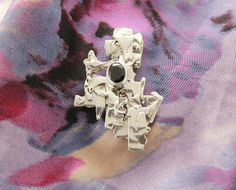 Magnetic Sterling Silver Brooch with Garnet by LauraWilsonGallery
