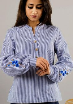 Achieve a casual look with a Sakura shirt, or combine it with any other garment. Fabric: Cotton Size: S, M, L Colour: White- Blue striped Casual Looks, Patterns, Chic, Fabric, Cotton, Shirts, Blue, Tops, Women