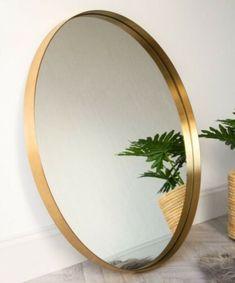 Gold Circle Mirror, Large Gold Mirror, Round Brass Mirror, Circular Mirror, Gold Mirror Bathroom, Hallway Mirror, Gold Wall Mirror, White Hallway, Green Master Bedroom