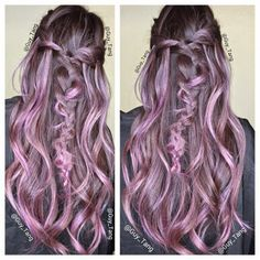 burnette dark grey eggplant to silver lilac ombre highlights - Google Search