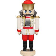 Nutcracker king white (12cm/4.7in)ch by Seiffener Volkskunst