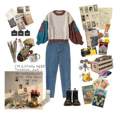 """garden of sundrops"" by nadyaarw on Polyvore featuring Dr. Martens, Bonne Maison, Burt's Bees, Kodak, MABEL, Crosley Radio & Furniture, CASSETTE and Marvel"