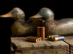 old decoys,vintage shells & ammo boxes