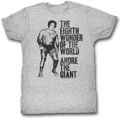 Behold the Andre The Giant - Huge Adult T-Shirt. Now you can be part of the hype with this grey heather colored, officially licensed t-shirt made of pre-shrunk cotton. This t-shirt is perfect for a true Andre The Giant fan. Giants Shirt, Andre The Giant, Tee Shirts, Tees, Wonders Of The World, Black And Grey, T Shirts For Women, Retro, Mens Tops