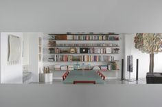 Library in an apartment in Athens. 1st Apartment, Apartment Renovation, Home Libraries, Athens, Bookcase, Shelves, Architects, Living Room, Interior