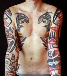 Mens Full Sleeves Gorgeous Haida Tattoo Design Ideas