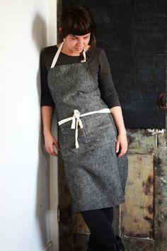 Handmade 100% French linen apron. Bib style, cotton straps, double pocket.