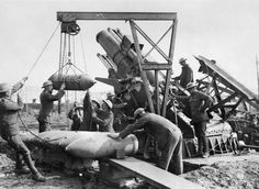 Royal Marine Artillery crew loading a 15-inch howitzer near the Menin Road during the Third Battle of Ypres, October 1917.