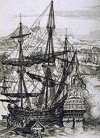 A Spanish galleon, the symbol of Spain's maritime empire.