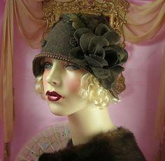 1920's Vintage Style Brown Feather Flower Cloche Flapper Hat | eBay
