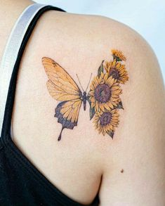Sunflower Foot Tattoos, Sunflower Tattoo Sleeve, Sunflower Tattoo Shoulder, Sunflower Tattoo Design, Watercolor Sunflower Tattoo, Watercolor Tattoos, Butterfly Shoulder Tattoo, Thigh Sleeve Tattoo, Colorful Sunflower Tattoo