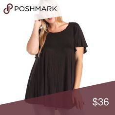 Flirty Short Flutter Sleeve High Low Drapey Tee Flattering short flutter sleeves, a loose, comfortable, drapey fit, and an ultra soft fabric you'll want to live in! Dress it up or down, this tee will be your favorite paired with heels and a blazer for work or sandals and a skirt for the beach. This is also the best #momlife top ever with leggings and flats!  Available in XL/1X and XXL/2X and XXXL/3X 96% rayon 4% spandex  ❌ Sorry, no trades. fairlygirly Tops Tees - Short Sleeve
