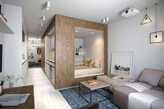 Small Studio Apartment Design, Studio Apartment Layout, Small Studio Apartments, Modern Apartment Design, Studio Layout, Small Apartment Interior, Small Apartment Decorating, Studio Design, Decorating Office