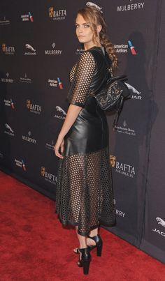 Cara Delevingne at the BAFTA Los Angeles Tea Party in Mulberry. See all of the model's best looks.