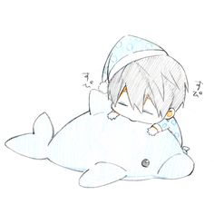Chibi Haru sleeping in his pajamas with his dolphin pillow Chibi Kawaii, Chibi Boy, Cute Chibi, Kawaii Anime, Anime Nerd, Anime Guys, Manga Anime, Yandere, Sleeping Drawing