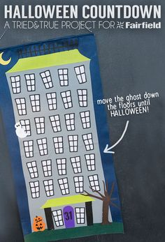 Halloween Countdown Free Printable Pattern - Follow the ghost as he counts down to Halloween day!