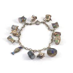 Vintage Chinese Silver Enamel Export  Charm Bracelet LOADED