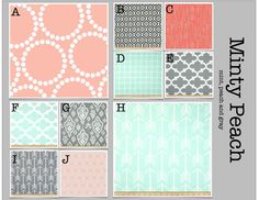Crib Bedding- Design Your Own Crib Set- Minty Peach- Mint, Peach And Gray