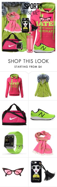 """""""Sporty Style"""" by drahuschka ❤ liked on Polyvore featuring WithChic, NIKE, New Balance, Fitbit and Prada"""