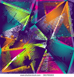 Abstract seamless chaotic pattern with urban geometric elements, scuffed, drops, sprays, triangles. Grunge neon texture background. Wallpaper for boys and girls